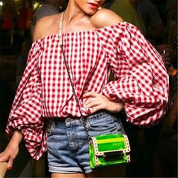 Wholesale Elegant Ruffled Blouses - 2016 Women Plaid Shirt Long-sleeve Shirts Elegant Sexy Shoulder off Top Blusas Female Cool Blouses Casual