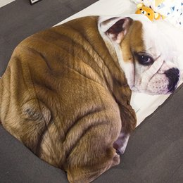 Wholesale hotel quilt cover - Cartoon Dog Cat Animal Bedding Sofa Throw Blanket Bulldog Student comforter Summer Quilt Blankets Bed Cover Plaids Bedspreads Home Textile