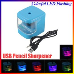 Wholesale Electric Led Flashing Pencil Sharpener - Modern Fahion Design Convenient AUTO USB Battery Powered Desktop Electric Color Flash Pencil Sharpener LED Light home School