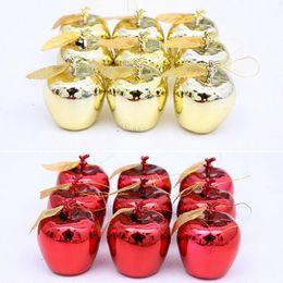 2019 рождественская елка красный apple украшения Бесплатная доставка Красный золотые яблоки Рождественская елка украшения партия события фрукты кулон Рождество висит орнамент JF-82 дешево рождественская елка красный apple украшения
