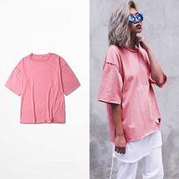 Wholesale Destroyed Black Shorts - 2016 Yeezus T-Shirt Season 1 Kanye West Style Men T Shirt Simple Design Ripped Men's Tees Destroyed Pink Tops Couple Clothes Plus Size 3xl