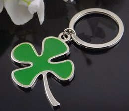 Wholesale Lucky Leave - Lucky clover key chain Green leaves key ring creative gift The car key chain A kind of good wishes keychain