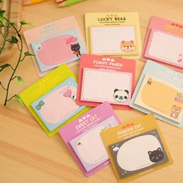 Wholesale Memo Pad Bear - Wholesale- cute memo pad sticky notes kawaii post it nota de papel animal bear panda cartoon paper Planner sticker stationery student prize