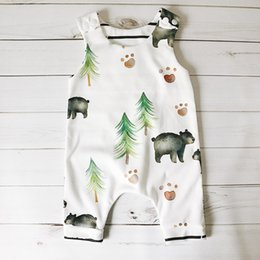Wholesale Jumpsuits For Infants - 2017 sleeveless children summer rompers infant toddlers bear little bear print climb cotton jumpsuit for 0-24m