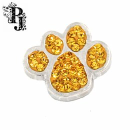 Wholesale Chunky Yellow Jewelry - 12pcs lots Snaps Snap Charm Yellow Crystal Rhinestone Dog  Cat Paw Print Ginger Chunky Button Charms Interchangeable Jewelry SB281