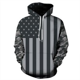 Wholesale Womens Long Hoodie Coats - Casual Mens Womens Hoodies 3D Sweatshirt America Flag Striped Stars Printed Hooded Tracksuits Pullover Coat Outerwear