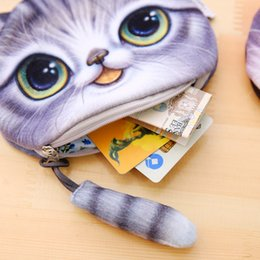 Wholesale Fashion For Short People - new cat coin purse ladies 3D printing cats dogs animal big face change fashion meow star people cartoon zipper bag for children ZD043