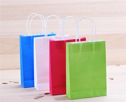 Wholesale Advertising Clothes - Creative Hand Green Color Clothing Shopping A Brown Paper Bag Gift Bags Advertising Bags Wedding Favour Party Gifts Bag Wedding Decorations