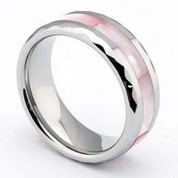 Wholesale Tungsten Ring Silver Inlay - 8MM Silver Tungsten Carbide Ring Abalone Shell Inlay Polished Finish Edges Wedding Band, Size 5-15