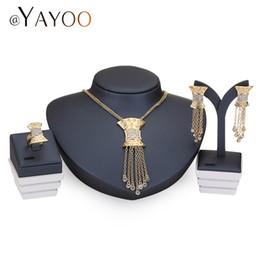 Wholesale Dress Jade Color - Necklace Women Imitation Crystal Jewelry Sets Gold Color Pendant Wedding Dress Accessories Austrian Earrings Bracelets
