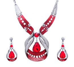 Wholesale Platinum Plated Jewellery - Bridesmaid Jewelry Set for Wedding Jewellery Sets 18k Platinum Plated Austrian Crystal Enamel Statement Necklace Earrings Party Jewelry Sets