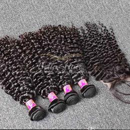 Rizado cabello humano de 34 pulgadas online-Armadura del pelo de Malasia con cierre de encaje Curly Wave Armadura del pelo humano Color natural 5pc / Lot 8-34 Pulgadas Parte libre Cierre de cabello humano