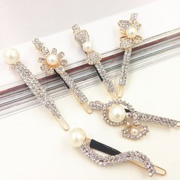 Wholesale Stoned Hair Bow Wholesale - 2016 New Fashion Long bow Rhinestone Hair Clip Fashion stones Hair Jewelry For Women Crystal Hair Accessories