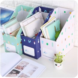 Wholesale Paper Magazine Holder - Creative DIY Desktop File Holder A4 Paper File Organizer Box Office Book Magazine Document Desk Organizer LZ0083