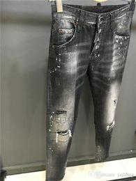 Wholesale Hot Micro Pants - SS18 Arrive Hot Coolguy Pants type Skinny Button Fly Mens Jeans Micro-stretch Denim Desinger D1801-1803 Slim Fit Make Shabby holes top Men