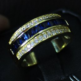 Safira azul ouro amarelo on-line-Classic Blue Sapphire CZ Pavimentada 10KT Yellow Gold Filled Band Tamanho do Anel 8/9/11/11/12/13