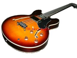 Cuerda de guitarra bajo hueco online-Guitarra al por mayor Nueva Llegada EB-2 sunburst Bass Guitar Hollow Body 4 Cuerdas bajo eléctrico Envío Gratis