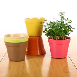 Wholesale Planter Set - 6.5X4.2X6cm High Quality Set of 12 Small Round Biodegradable Bamboo Fiber Planters Random Mix Multi Colors