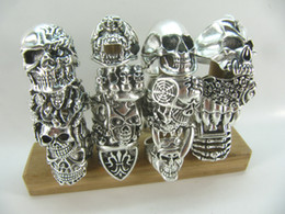 Wholesale Gothic For Men - Mixed Gothic Big Skull Ring Bohemian Punk Vintage Jewelry Religion Statement Silver Alloy Rings for Men size 7-12