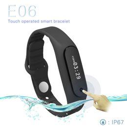 Wholesale Korean Male Models - Explosion models E06 smart watches case Bluetooth bracelet healthy sleep and sports monitoring smart watch waterproof pedometer smart watch