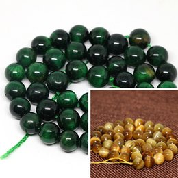 Wholesale Tiger Eye 8mm Round Bead - Wholesale-Hot sale green yellow tiger eyes natural stone 4mm 6mm 8mm 10mm 12mm gold round fashion jasper loose beads jewelry 15 inch B1030