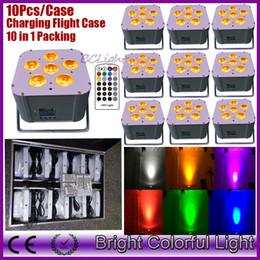 Wholesale Rgbaw Led Lights - (10pcs +1 fly case  lot) RGBAW+UV 6x18W LED lithium battery powered bluetooth-DMX wireless wash uplights wireless dmx led lights