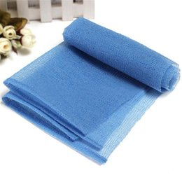Wholesale Wholesale Nylon Body Scrubs - Wholesale-Blue Bath Shower Body Skin Washing Scrubbing Exfoliate Puff Mesh Nylon Towel Cloth