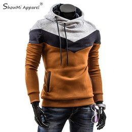 Wholesale Turtleneck Fleece Pullover - Moleton Masculino 2016 Autumn Slim Hoodies Men Sweatshirt Long Sleeve Pullover Hooded Sportswear Male Patchwork Fleece Tracksuit