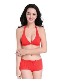 Wholesale Lady Lace Bikini Swim - Europe and the United States summer ladies lace adjustable size swimsuit sexy red bikini swimming suit two sets