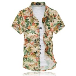 Wholesale Uomo Shirt Xl - Wholesale-2016 C021220 new floral shirt men high quality shirt short sleeve men yellow shirt M -5XL 6XL 7XL camicia uomo marca famosa