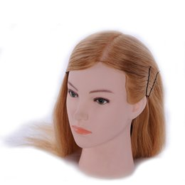 "Wholesale Training Doll Head - Hairstyle Doll 24"" Real Hair Hairdressing Training Head Practice Head Mannequin Women Cosmetology Salon Practice Head with Stand"