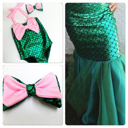 Wholesale Hot Bikini Cosplay - hot baby Girl lovely mermaid Bikini swimwear one piece Suits new children kids cosplay clothes clothing Suit cartoon Suits 2016