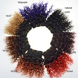short curly human hair weave Promo Codes - 8 inch Short Ombre Brazilian Human Hair Weaves 8A Grade Virgin Curly Hair Bundles 50g pcs Two Tone Double Weft Extensions 3pcs