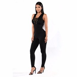 Wholesale Overalls For Ladies - Wholesale- Plus Size XXL 3XL Jumpsuit Women Romper 2017 New Summer Bodycon Jumpsuit Black Sleeveless V-Neck Long Pants Overalls for Ladies