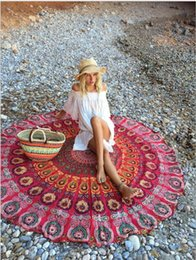 Wholesale Beach Sheets Towels - Indian Mandala Round Beach Throw Tapestry Hippy Boho Gypsy Tablecloth Beach Towel Round Yoga Mat Chiffon Beach Pad Picnic Blanket Bed Sheet