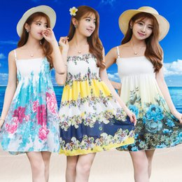 Wholesale Sexy Chiffon Stripe - Beach dress.Plumblossom Women Summer Style Floral Print Maxi Beach Dress Stripe Sleeveless Maxi Dresses Sexy Elegant bohemian dress.Freesize