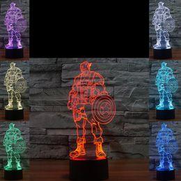 3D Captain America Nachtlampe Optisch 10 RGB Bunte LEDs DC 5V USB Lade 5. Batteriefach Fabrik Großhandel von Fabrikanten
