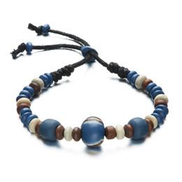 Wholesale Unique National - New unique bracelets for men National wind ceramic beads bracelets hand woven beads bracelets free shipping