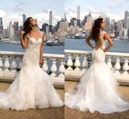 Wholesale Eve Milady Dresses - 2016 Gorgeous Eve of Milady Lace Mermaid Wedding Dresses Sexy Backless Missses Crystal Beaded Sweetheart Tiered Skirts Bridal Gowns Custom