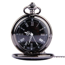 Wholesale Wall Watch Display - Black Dual Display Roman Numeral Pocket Watches necklace Quartz Watches Wall Clock Locket Necklaces women Christmas jewelry Gift 230225