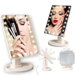 Wholesale Led Lit Mirrors - Make Up LED Mirror 360 Degree Rotation Touch Screen Make Up Cosmetic Folding Portable Compact Pocket With 22 LED Light Makeup Mirror KKA2635