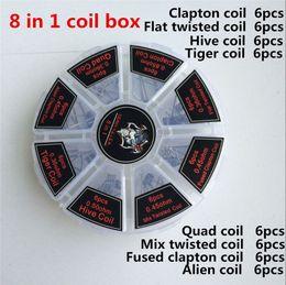 2020 fio diy clapton 8 em 1 kit de caixa de bobinas pré-construídas de arame de demônio clapton quad tiger colmeia de mistura de clapton misturado alienígena bobina torcida para atomizadores diy fio diy clapton barato