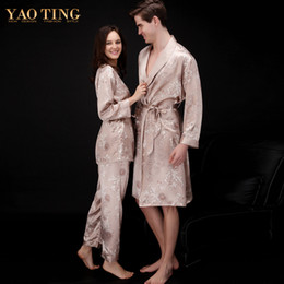 Wholesale Paisley Robe - Wholesale-Nightgown Robe Sets Satin Robes Couples Dressing Gown Bathrobe For Lovers Sleep Sleepwear Artificial Silk Satin Robes Plus Size