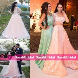 2016 Zuhair Murad Lujo Estilo árabe Vestidos de noche Rosa pálido Tulle Prom Vestidos del desfile Overskirt Cuello cuadrado Ropa formal Más tamaño Barato desde fabricantes