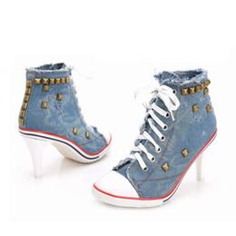 Wholesale White Canvas Pumps Women - New 2016 women sneakers shoes woman high heels pumps zapatos mujer tacon sapatos de salto alto denim rivet lace up ladies tenis feminino