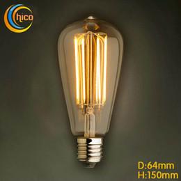 Wholesale Carbon Filament - LED light bulb ST64 2W 4W 6W E27 Incandescent vintage Edison Light Bulb fireworks carbon filament antique lamp lights bulbs