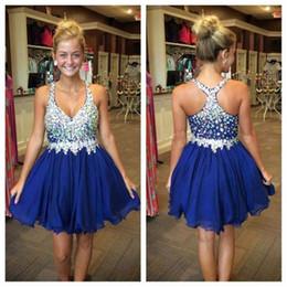 Wholesale Dress Skirt Drape Chiffon - Crystal royal blue Prom Dresses Short Homecoming Dress with Beaded Straps Chiffon Mini Skirt 8th grade graduation dresses 2016 Cocktail Dres