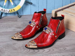 Wholesale Short Wedding Dress Boots - New Arrival Men Red High Top Leather Shoes Fashion Metal Pointed Toe Short Ankle Boot Personalized Martin Boot With Zip Size 12