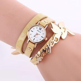 Wholesale Womens Woven Bracelets - New Arrival Womens Stainless Steel Band Bracelet Weave Wrap Quartz Leather Angel Wings Wrist Watches 9 Colors