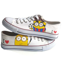 Wholesale Girls Canvas Shoes Cartoon - Cartoon Character Minions Men Women Hand Painted Shoes Lace-Up Anime Despicable Me Minion Graffiti Flat Shoe for Boys Girls